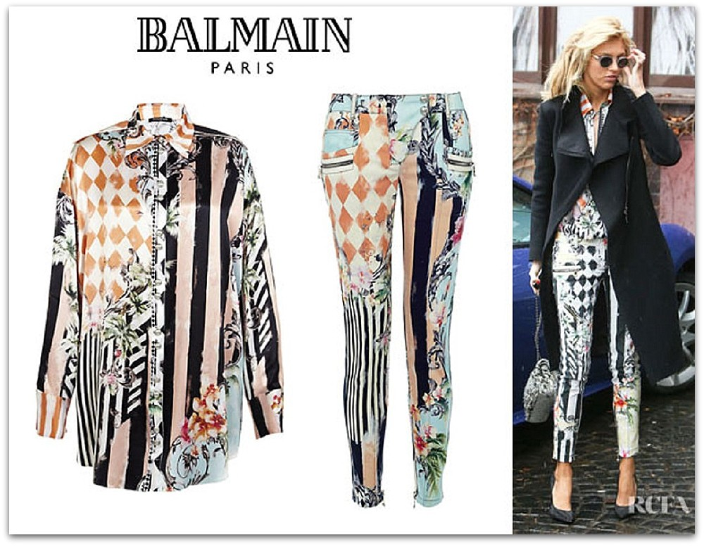 Anja-Rubiks-Balmain-Miami-Print-Blouse-And-Balmain-Miami-Print-Skinny-Jeans
